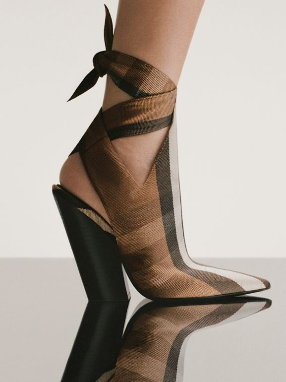 Tie Detail Check Technical Cotton Point-toe Mules in Birch Brown - Women | Burberry United Kingdom - cell image 1