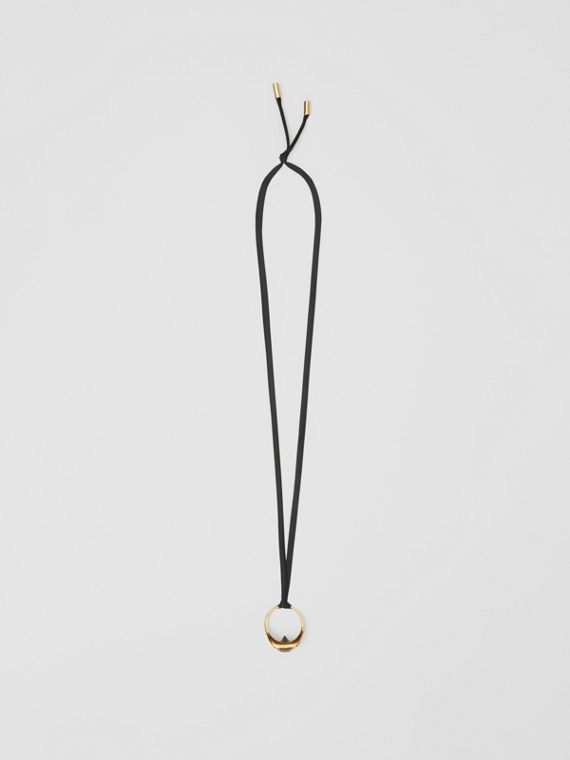 Gold-plated Ring Detail Silk Necklace in Light Gold/black
