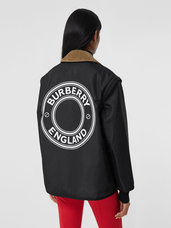 Detachable Sleeve Reversible Logo Graphic Jacket in Black - Women | Burberry Canada - cell image 2