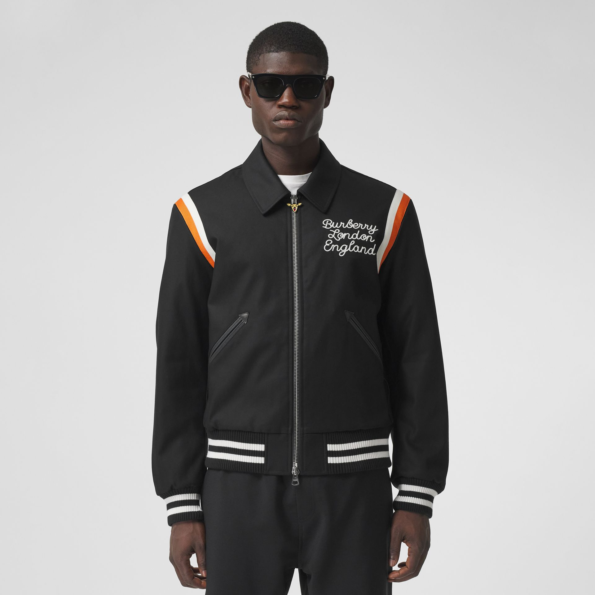 Embroidered Logo Cotton Gabardine Bomber Jacket in Black - Men | Burberry - gallery image 5