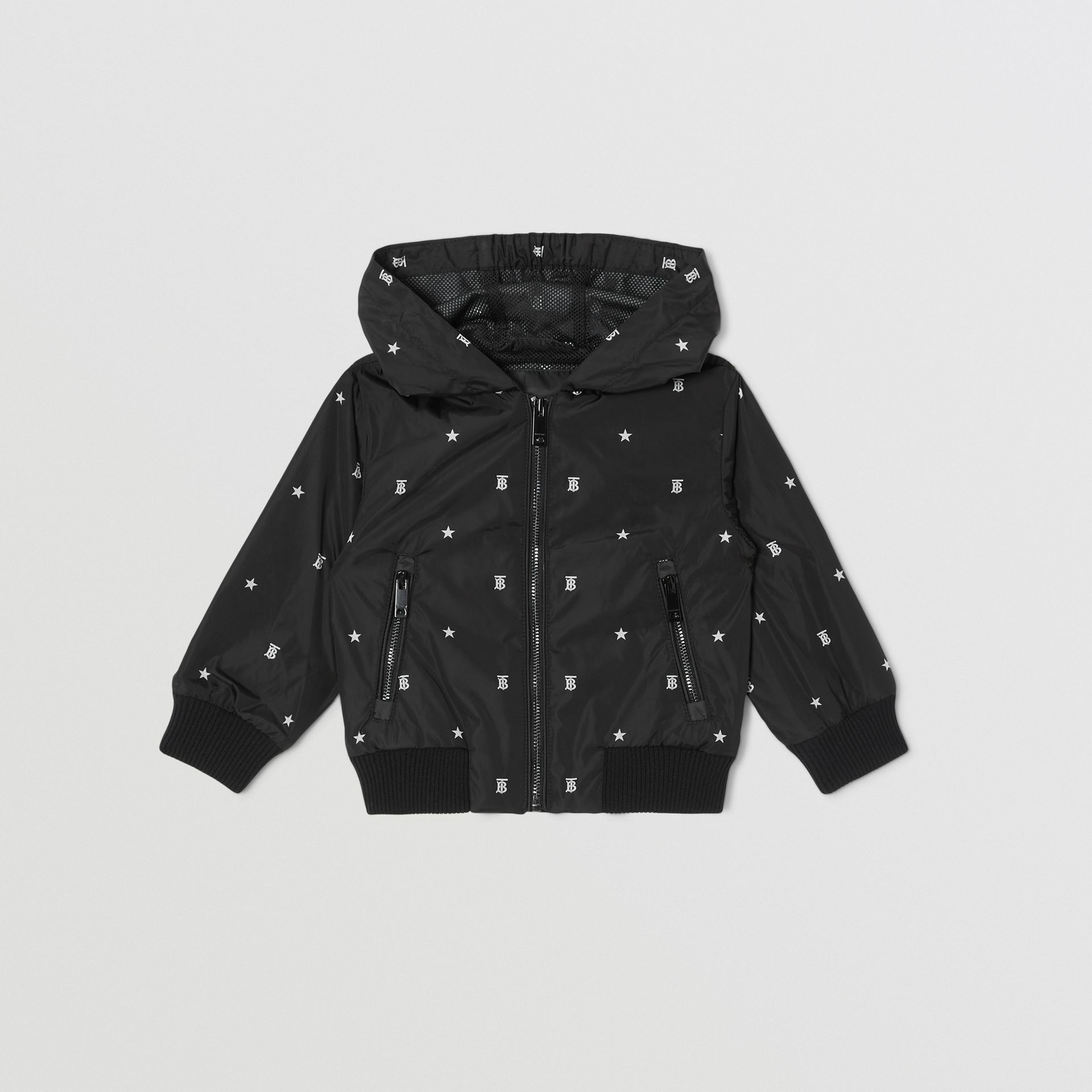 Star and Monogram Motif Lightweight Hooded Jacket in Black - Children | Burberry - gallery image 0