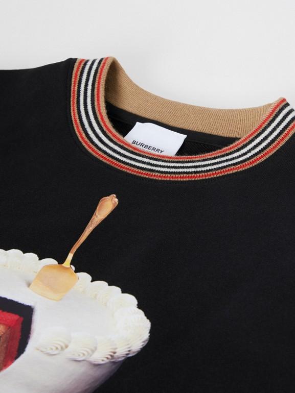 Cake Print Cotton Sweatshirt in Black | Burberry - cell image 1