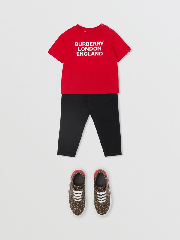 Logo Print Cotton T-shirt in Bright Red - Children | Burberry United Kingdom - cell image 3
