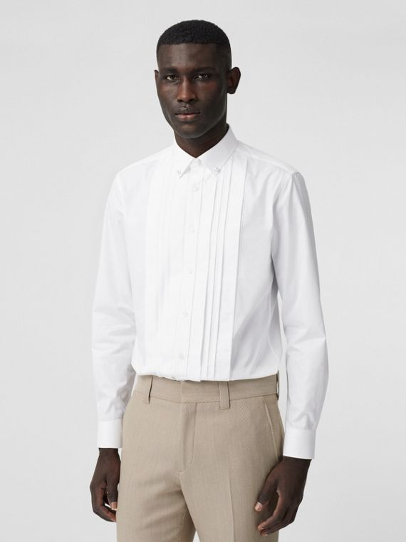Resin Pearl Detail Cotton Poplin Dress Shirt in White