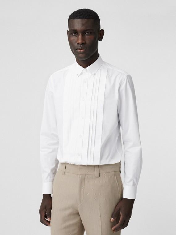 Camisa social em popeline de algodão com detalhe de pérola de resina (Branco)