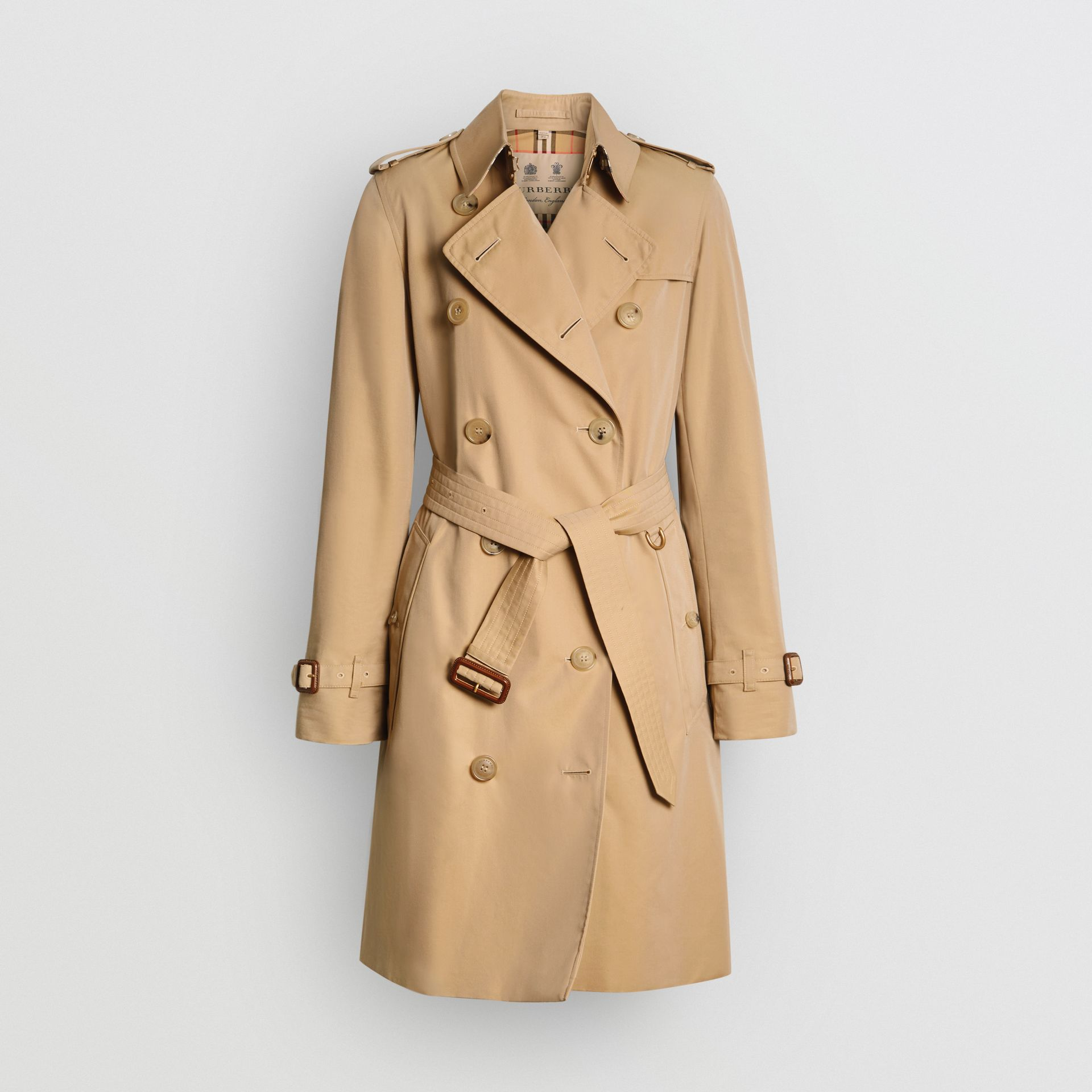 The Mid-length Kensington Heritage Trench Coat in Honey - Women | Burberry Hong Kong S.A.R. - gallery image 8