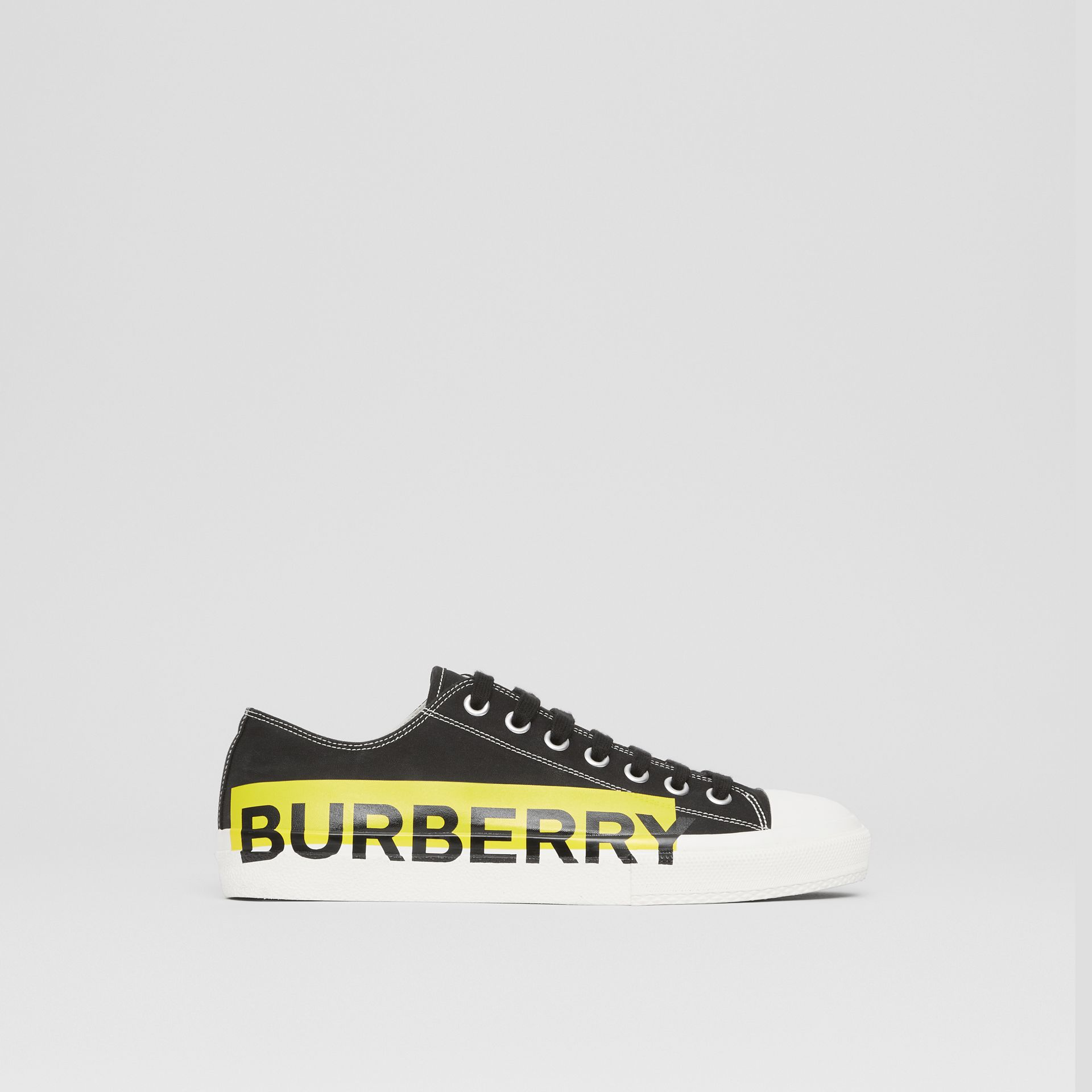 Logo Print Two-tone Cotton Gabardine Sneakers in Black - Men | Burberry - gallery image 4