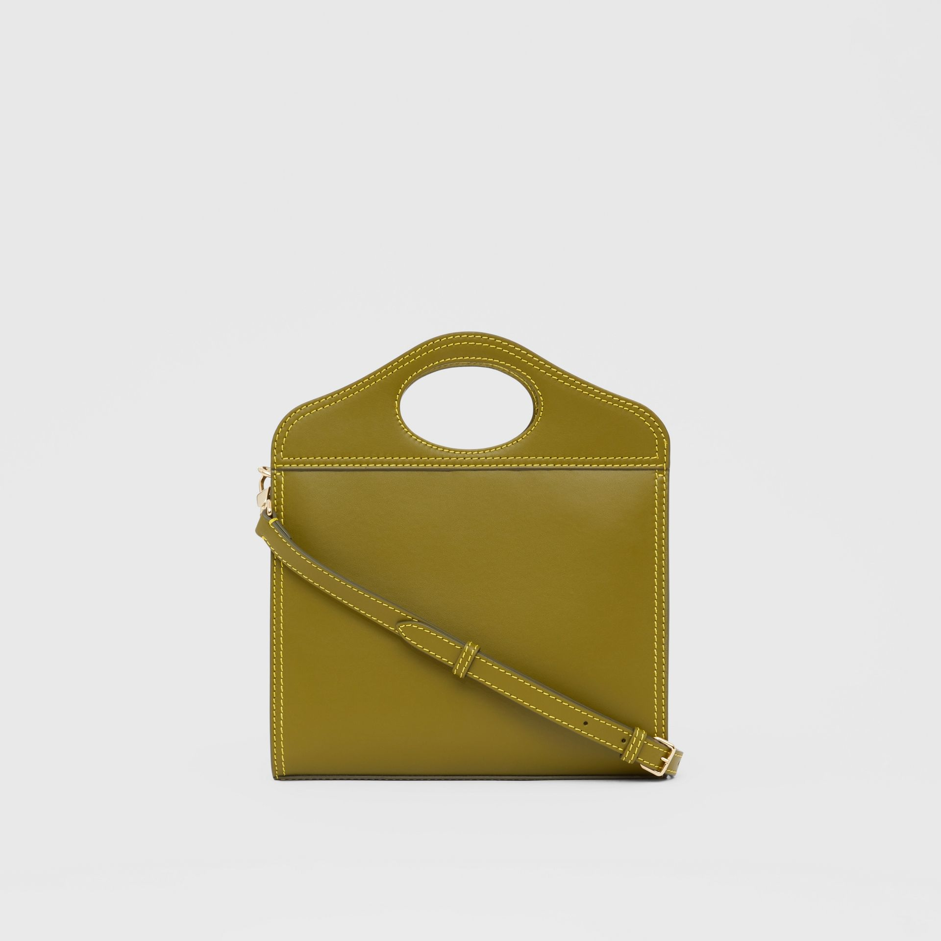 Mini Topstitched Leather Pocket Bag in Juniper Green - Women | Burberry - gallery image 7