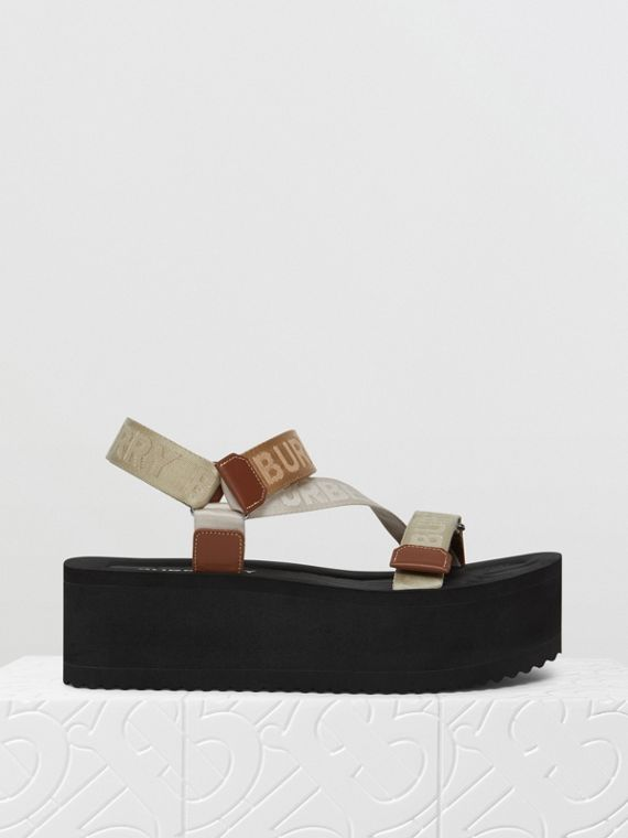 Logo Jacquard Sandals in Archive Beige