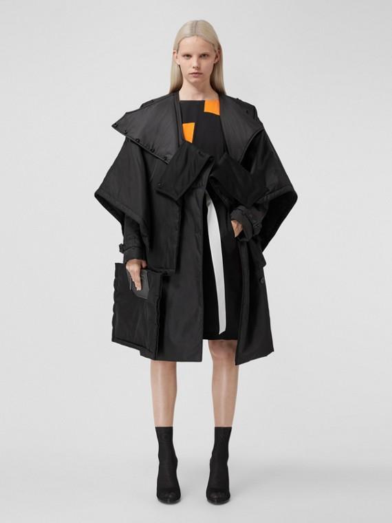 Lambskin Panel ECONYL® Padded Cape in Black