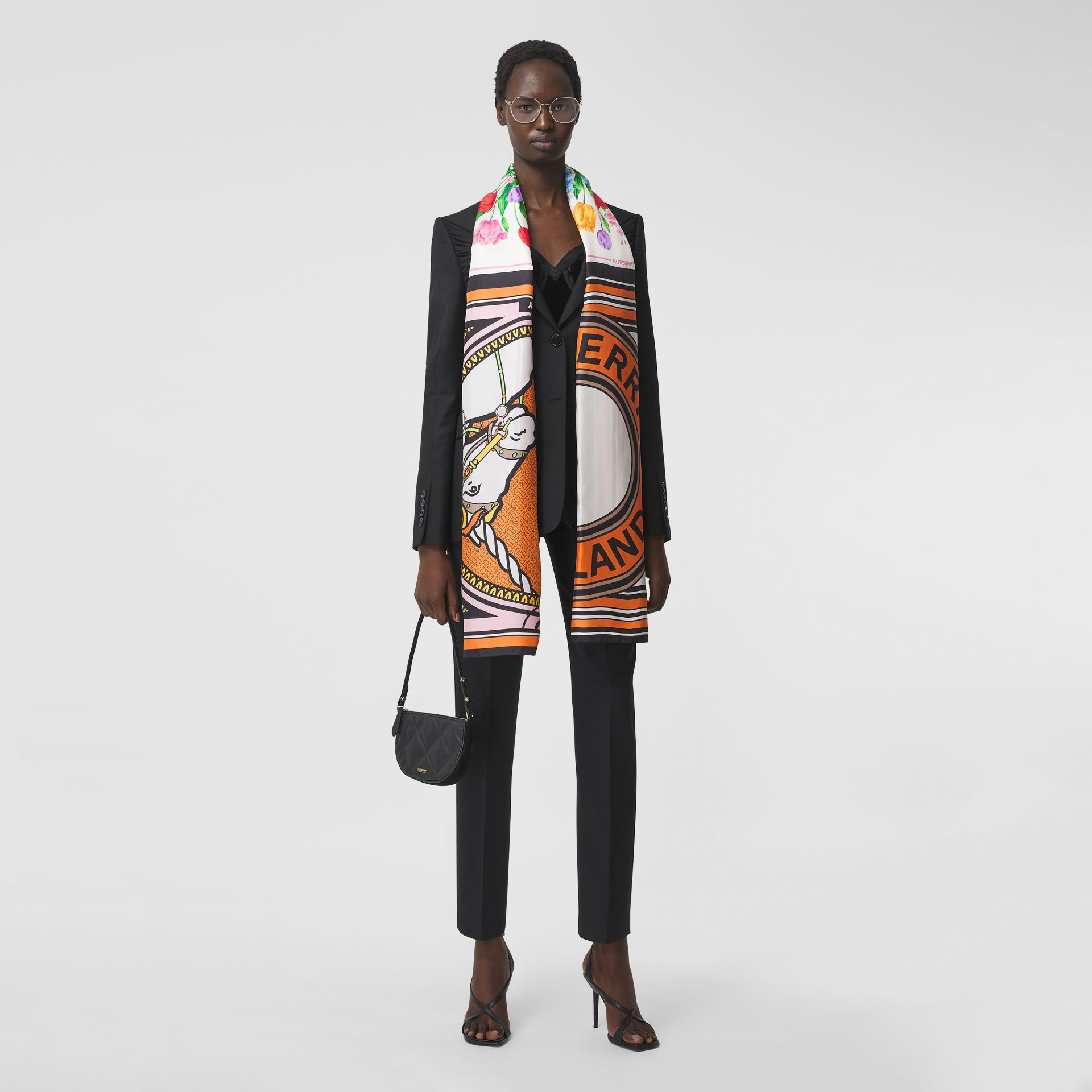 Montage Print Silk Scarf in Bright Orange | Burberry - gallery image 6