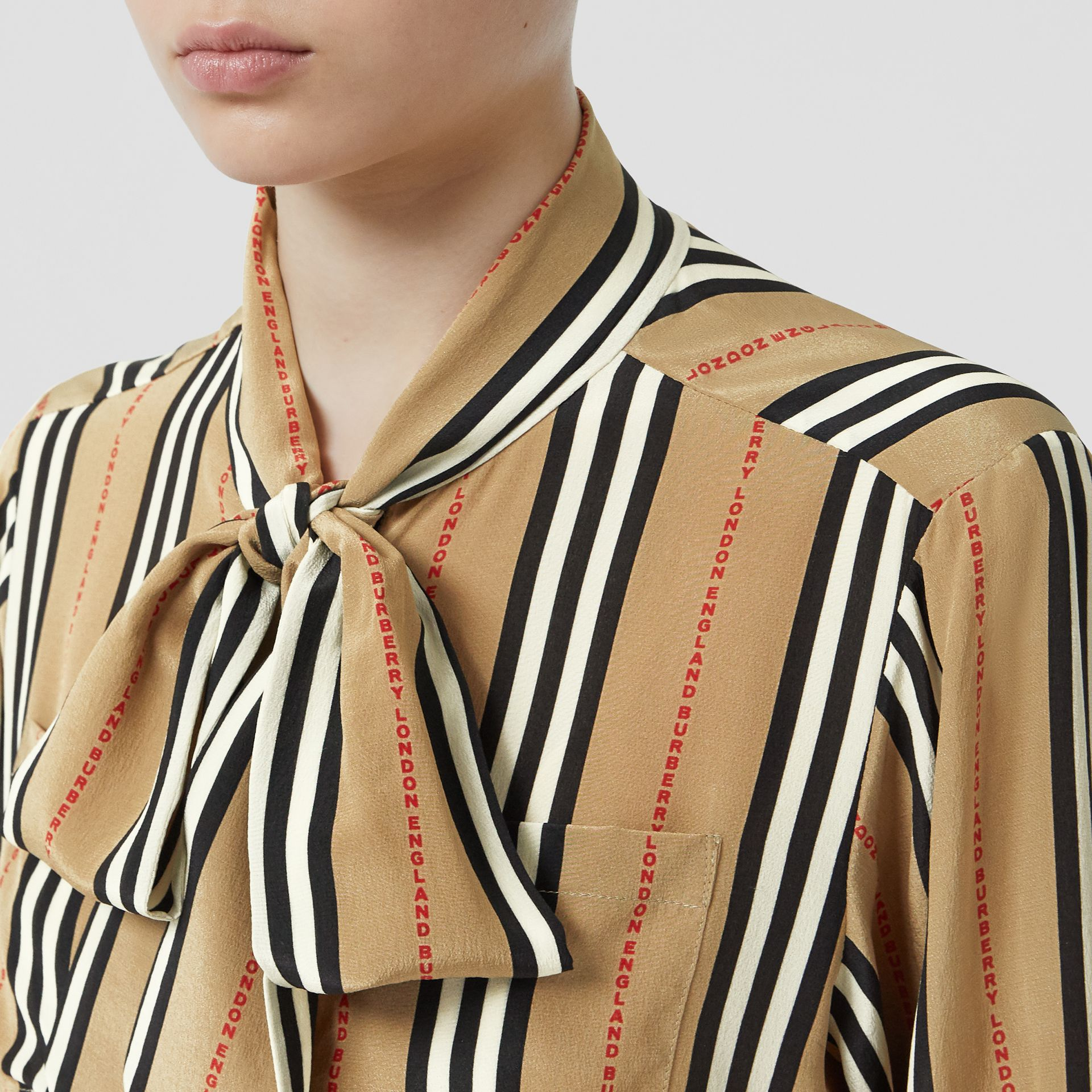 Logo Print Icon Stripe Silk Chiffon Pussy-bow Blouse in Archive Beige - Women | Burberry - gallery image 1