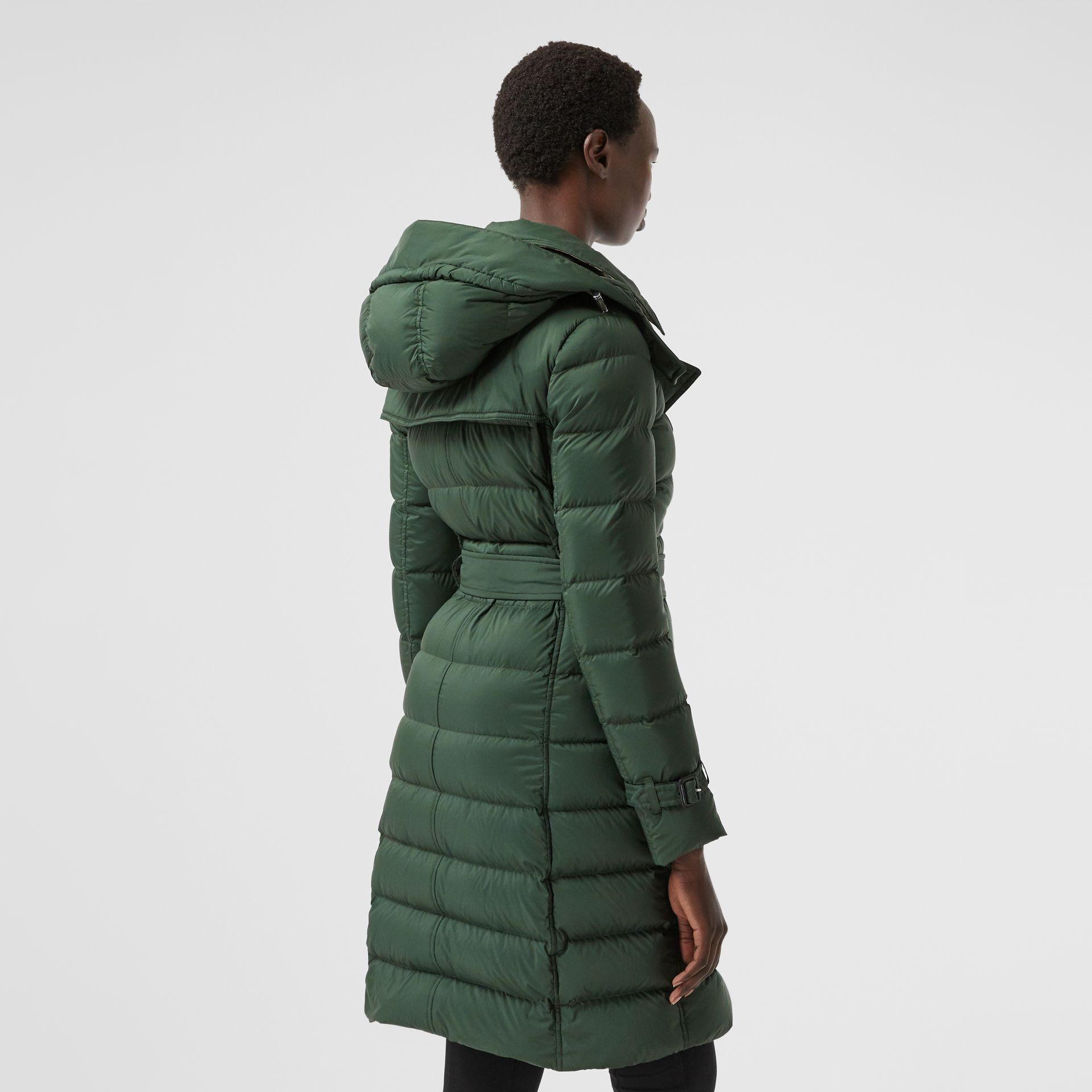 Logo Appliqué Detachable Hood Puffer Coat in Dark Pine Green - Women | Burberry Canada - gallery image 2