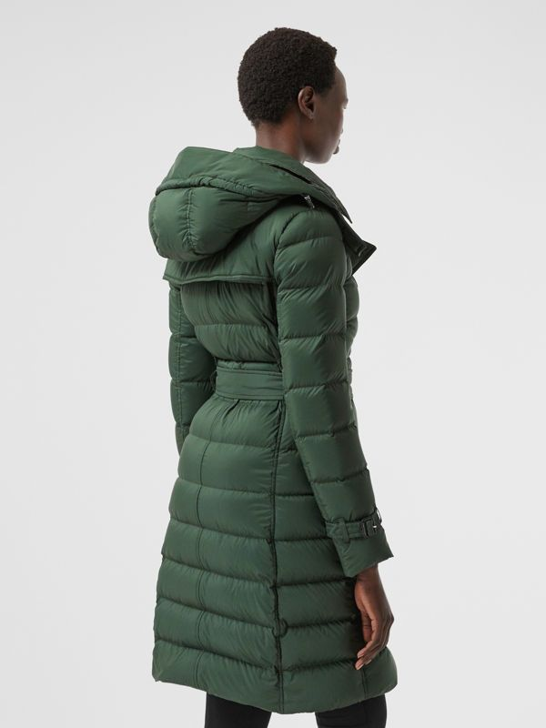 Logo Appliqué Detachable Hood Puffer Coat in Dark Pine Green - Women | Burberry Canada - cell image 2