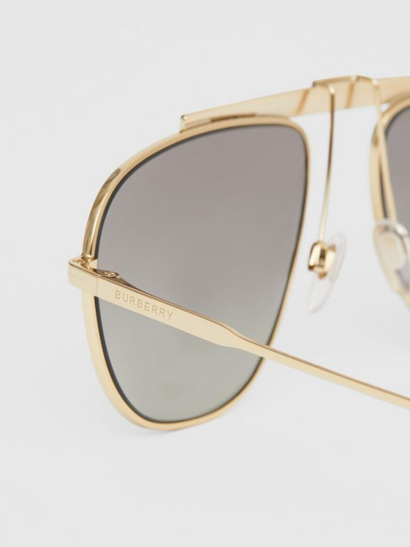Icon Stripe Detail Pilot Sunglasses in Gold - Men | Burberry - cell image 1