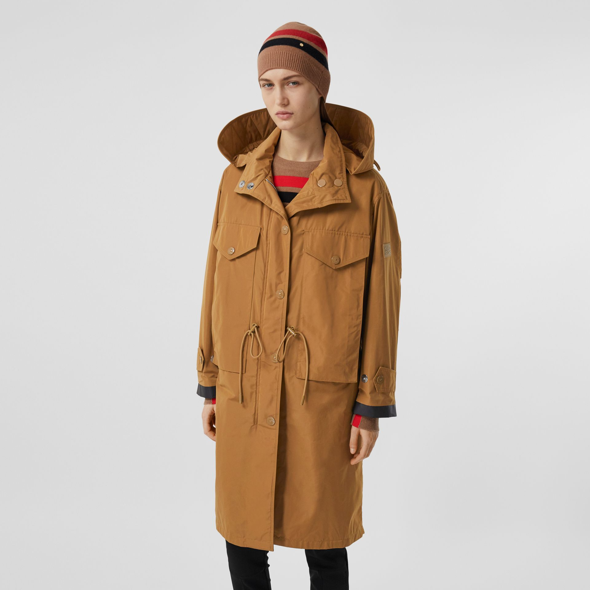 Detachable Hood Shape-memory Taffeta Parka in Camel - Women | Burberry - gallery image 6