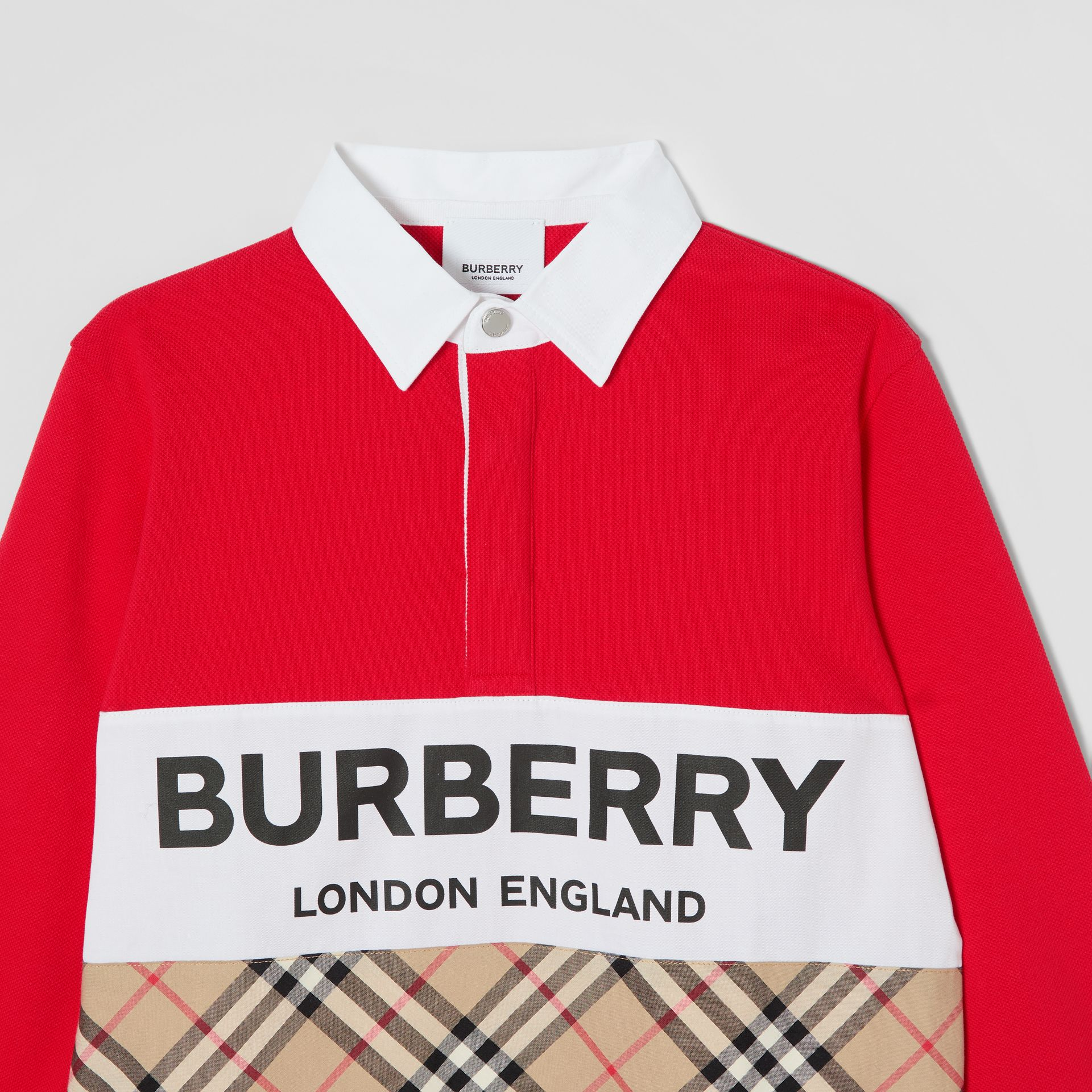 Long-sleeve Logo Print Vintage Check Panel Polo Shirt in Bright Red | Burberry United Kingdom - gallery image 4