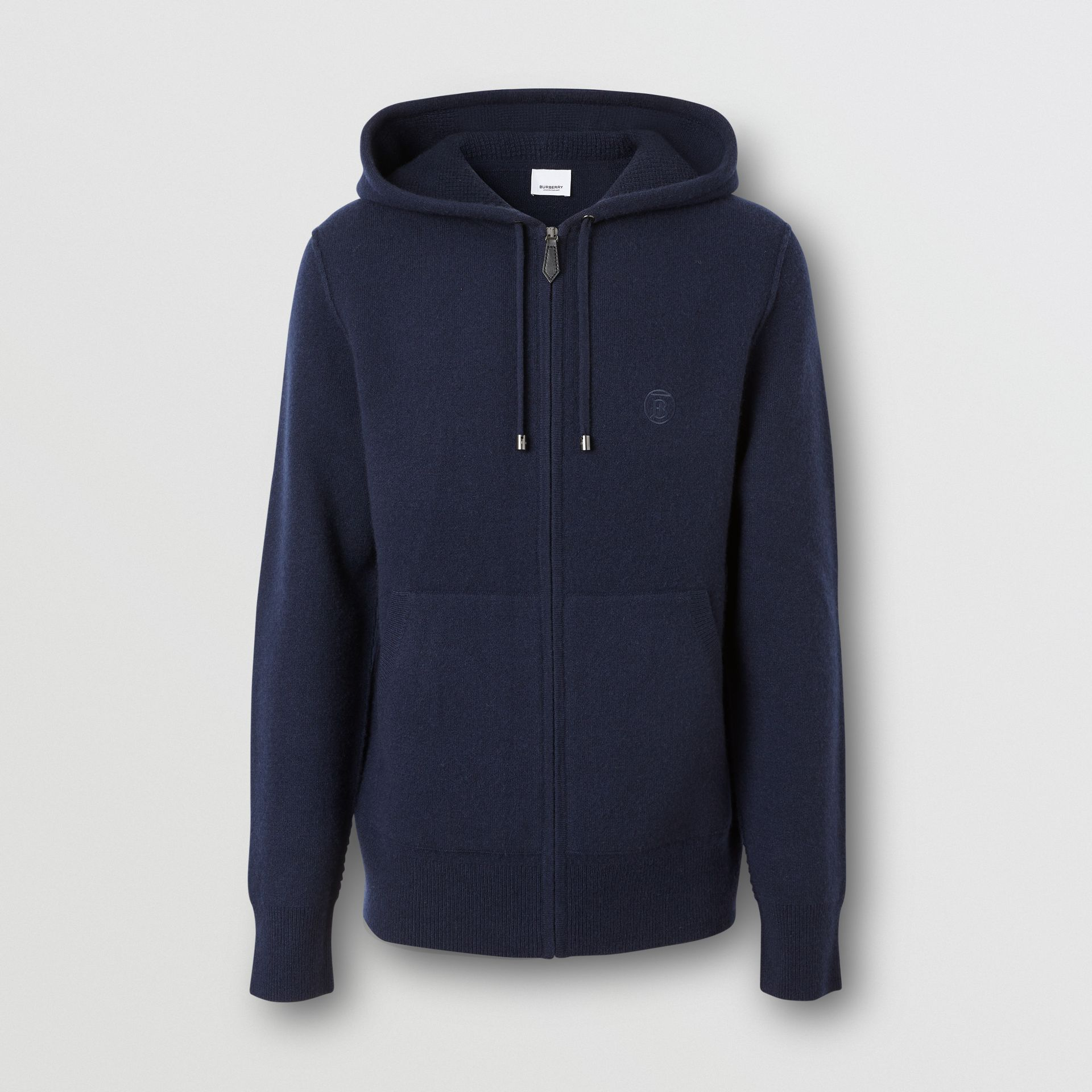 Monogram Motif Cashmere Blend Hooded Top in Navy - Men | Burberry - gallery image 3