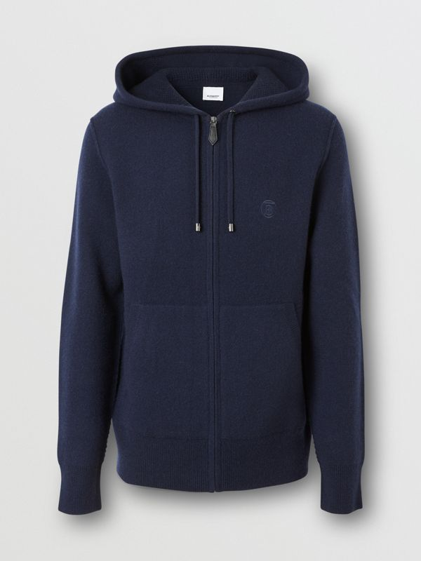 Monogram Motif Cashmere Blend Hooded Top in Navy - Men | Burberry - cell image 3