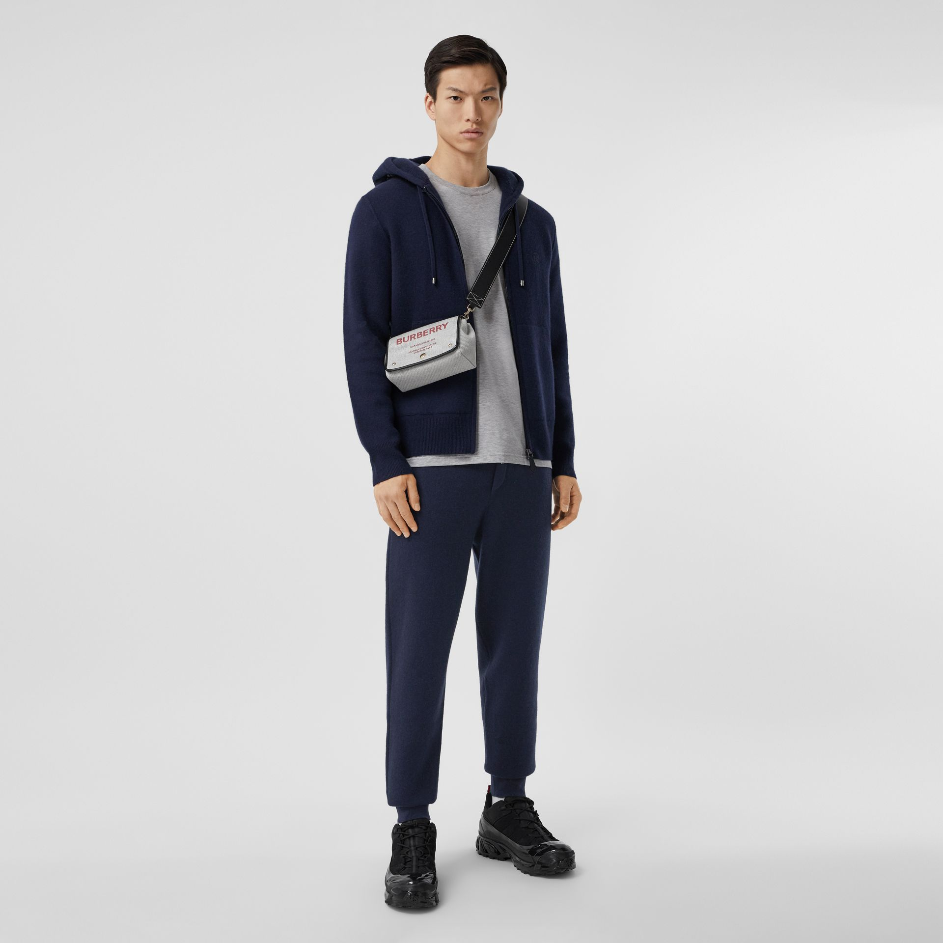 Monogram Motif Cashmere Blend Jogging Pants in Navy - Men | Burberry - gallery image 0