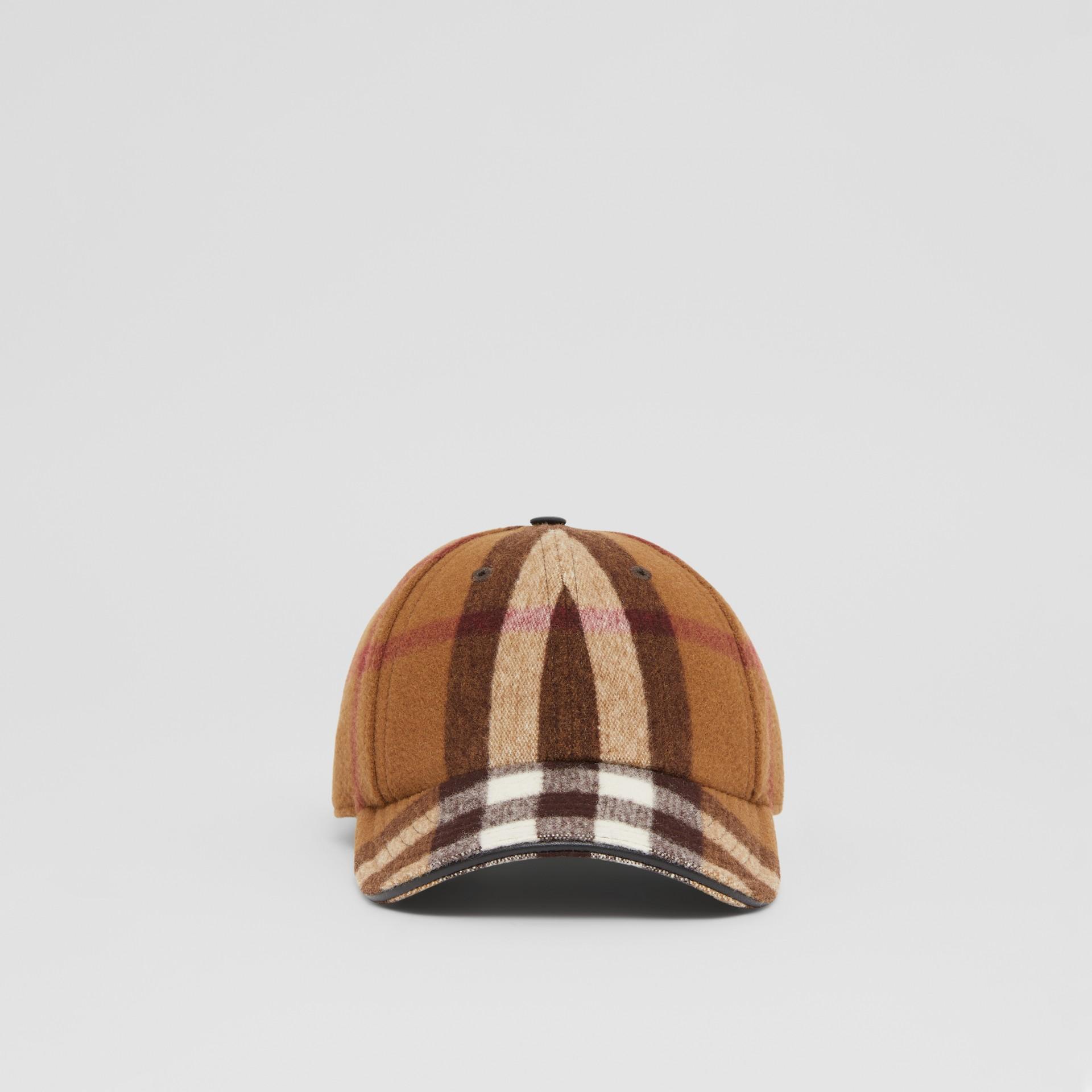 Lambskin Trim Check Wool Baseball Cap in Birch Brown | Burberry - gallery image 0