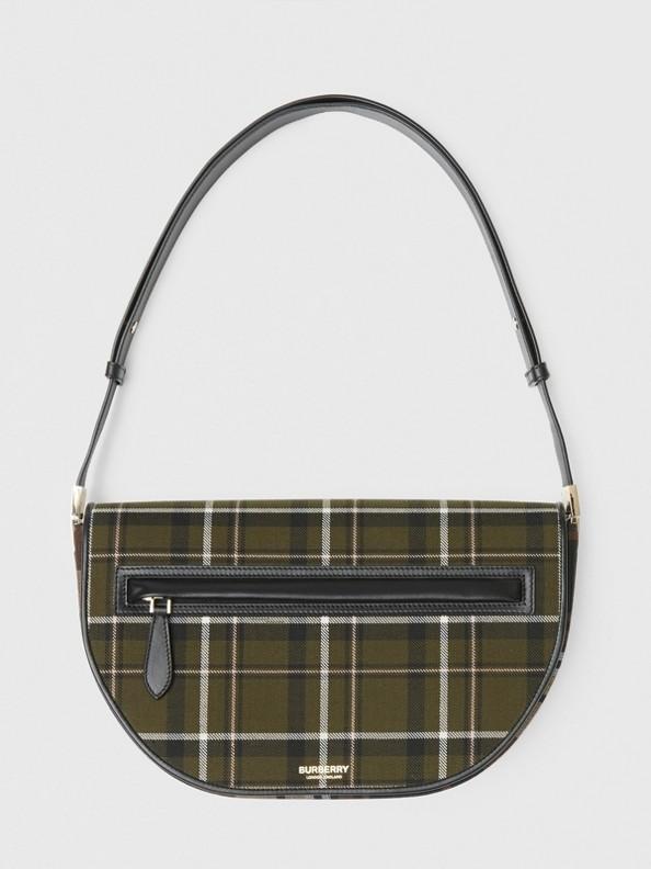 中型蘇格蘭格紋羊毛及皮革 Olympia 包 (暗綠色)