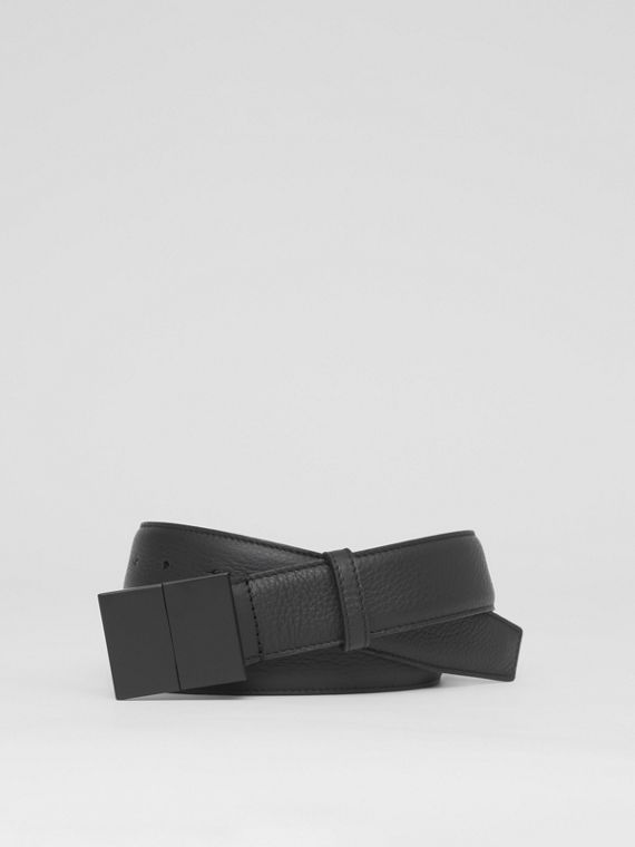 Grainy Leather Belt in Black