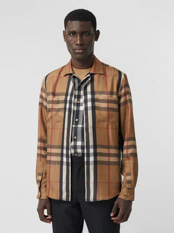 Classic Fit Check Silk Twill Reconstructed Shirt in Birch Brown