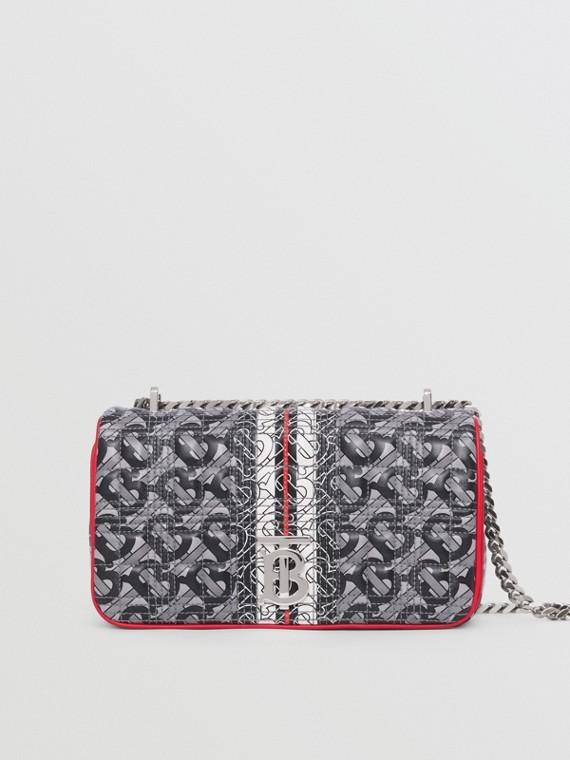 """Kleine Lammleder-Handtasche """"Lola"""" mit Monogrammmuster im Streifendesign (Grau/rot/schwarz)"""