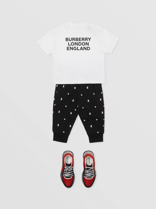 Star and Monogram Motif Cotton Jogging Pants in Black - Children | Burberry - cell image 2