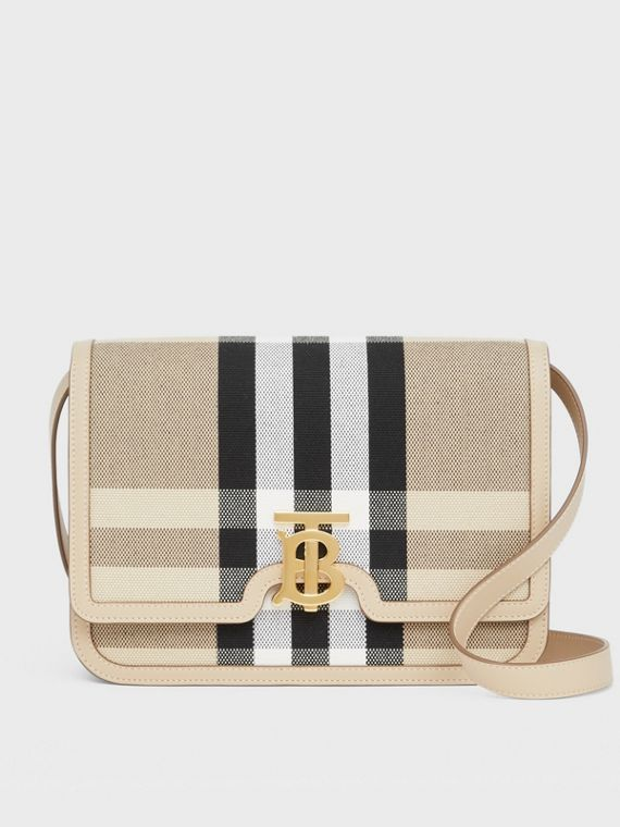 Medium Check Canvas and Leather TB Bag in Dusty Sand/soft Fawn