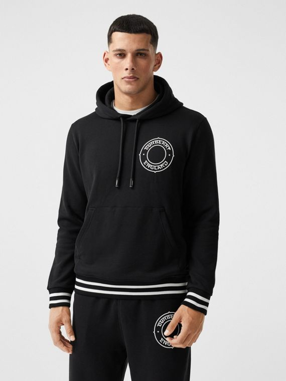 Logo Graphic Cotton Oversized Hoodie in Black