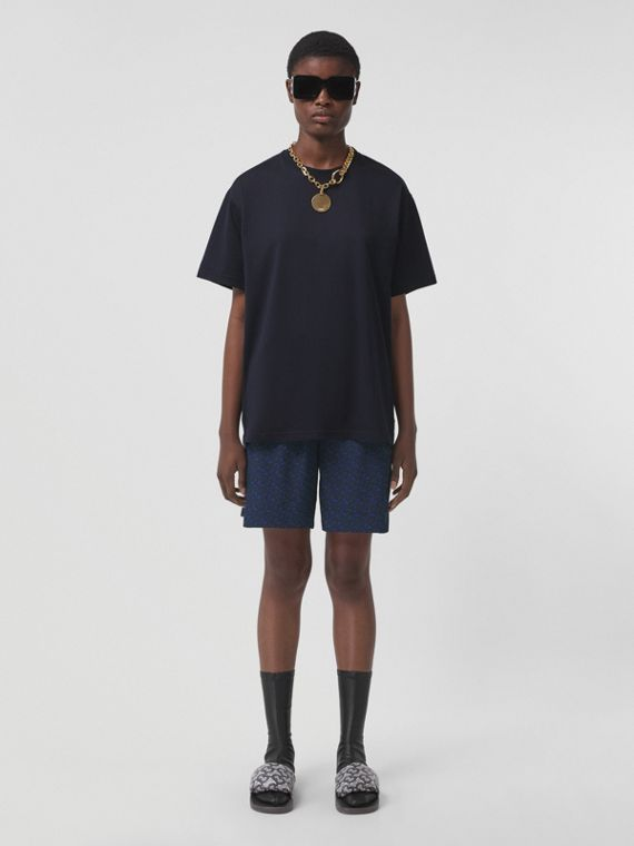 Monogram Stripe Print Cotton Oversized T-shirt in Coal Blue
