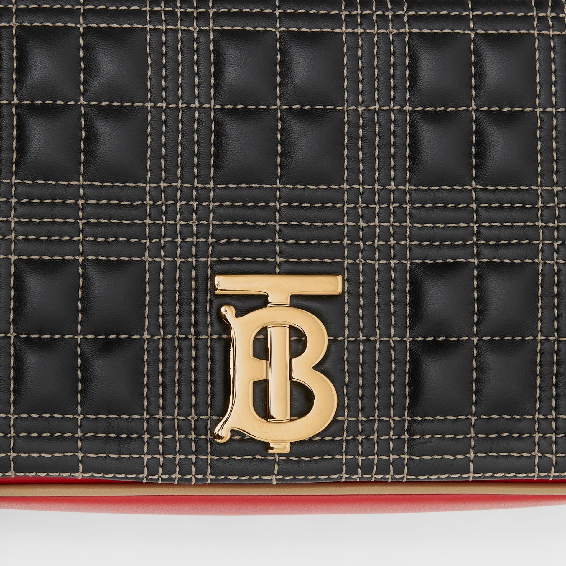 Small Quilted Tri-tone Lambskin Lola Bag in Black/bright Red - Women | Burberry - gallery image 1