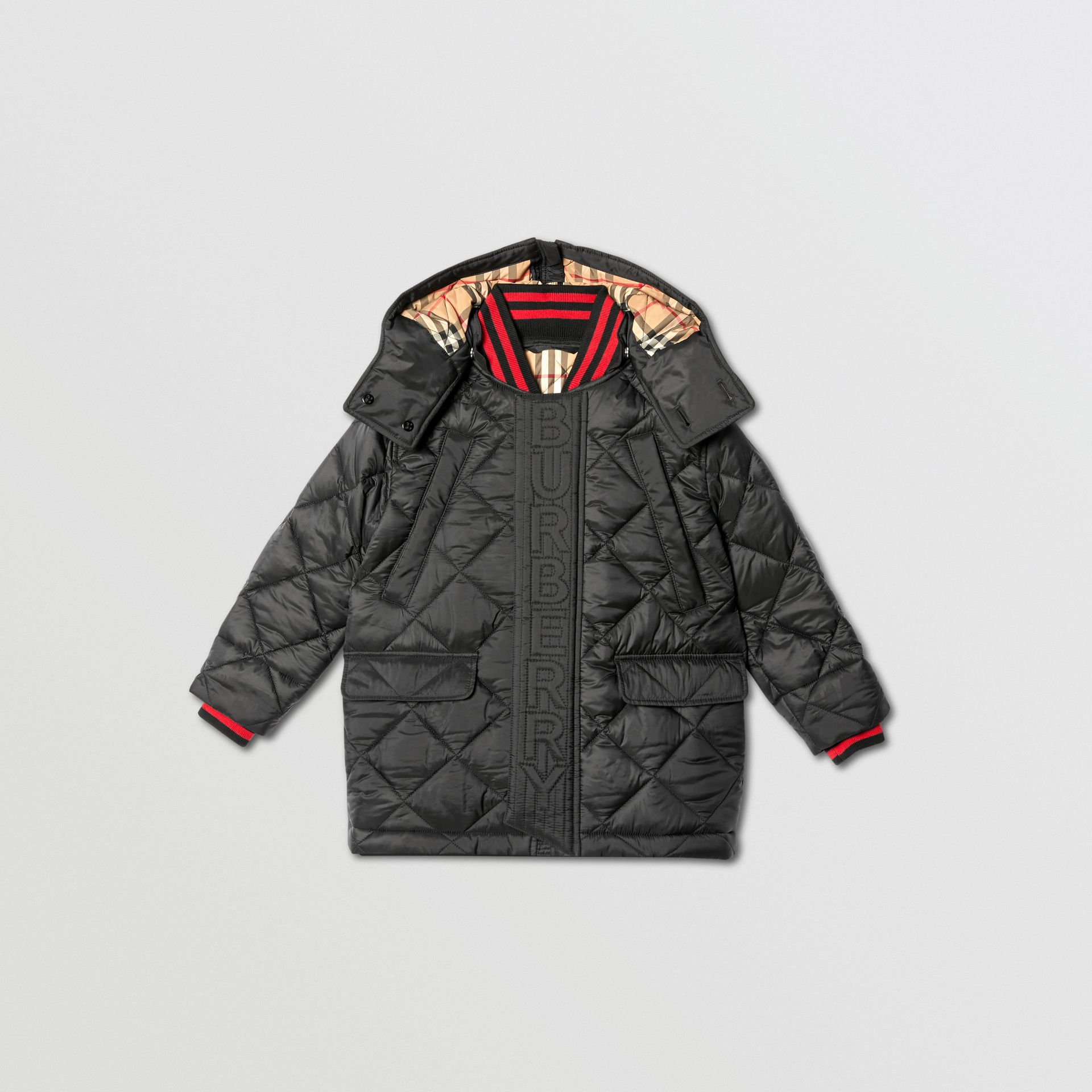 Detachable Hood Logo Detail Diamond Quilted Coat | Burberry United Kingdom - gallery image 0