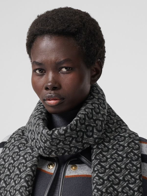 Monogram Cashmere Jacquard Scarf in Graphite | Burberry - cell image 2