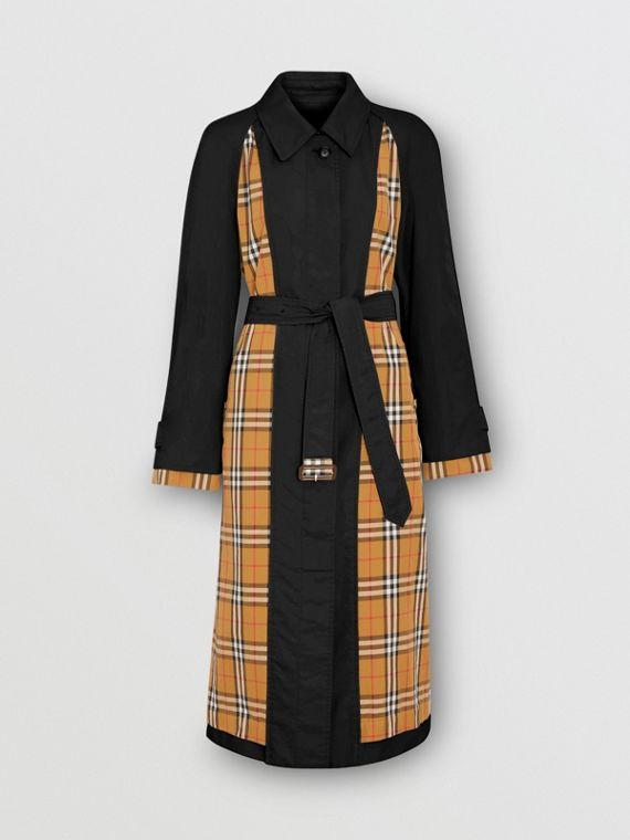 Vintage Check Panel Tropical Gabardine Car Coat in Black