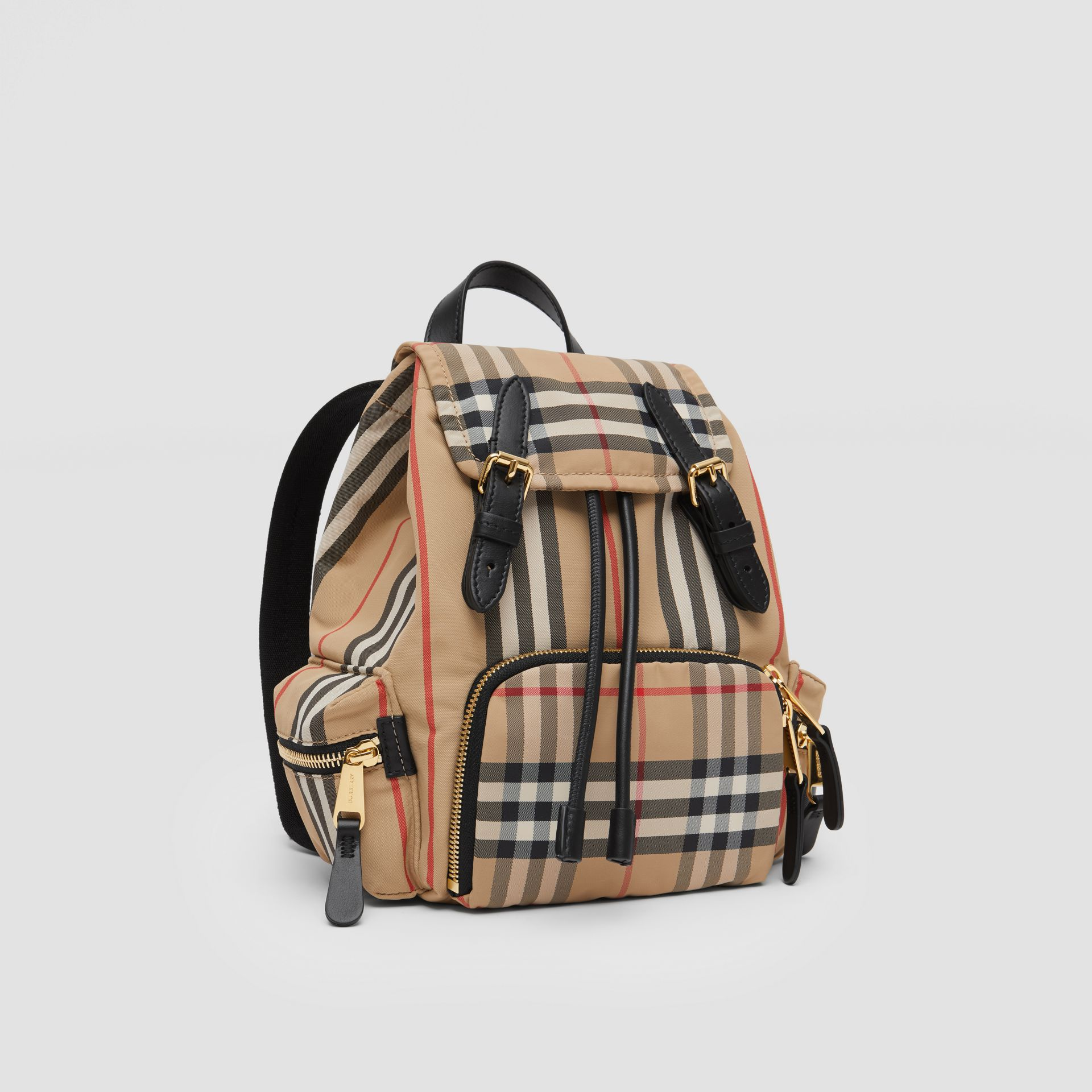 The Small Rucksack in Icon Stripe ECONYL® in Archive Beige - Women | Burberry Australia - gallery image 4
