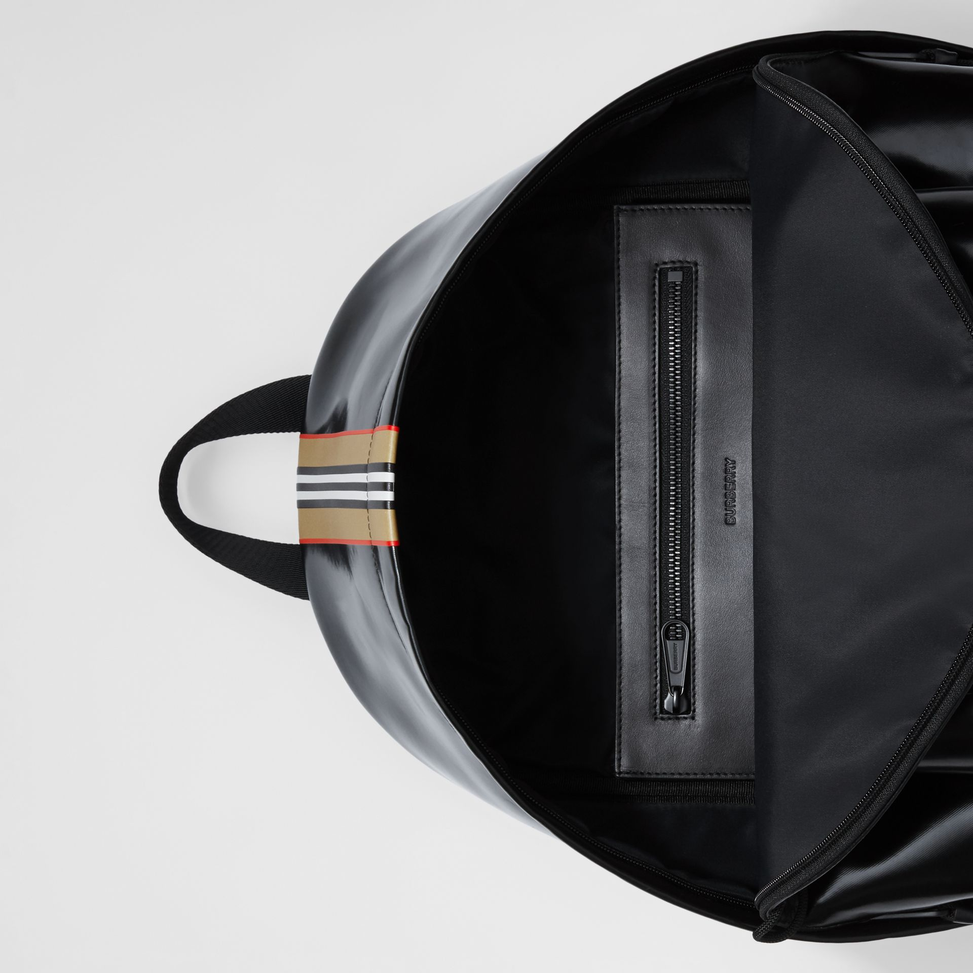 Logo and Icon Stripe Print Backpack in Black - Men | Burberry United Kingdom - gallery image 3