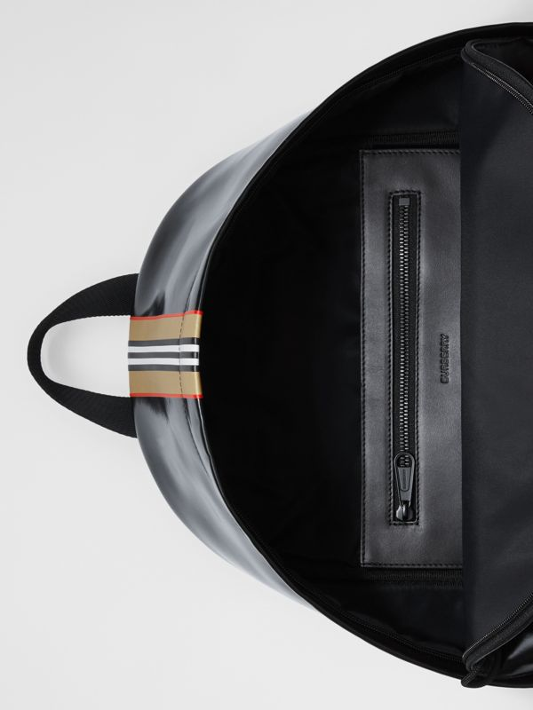 Logo and Icon Stripe Print Backpack in Black - Men | Burberry United Kingdom - cell image 3
