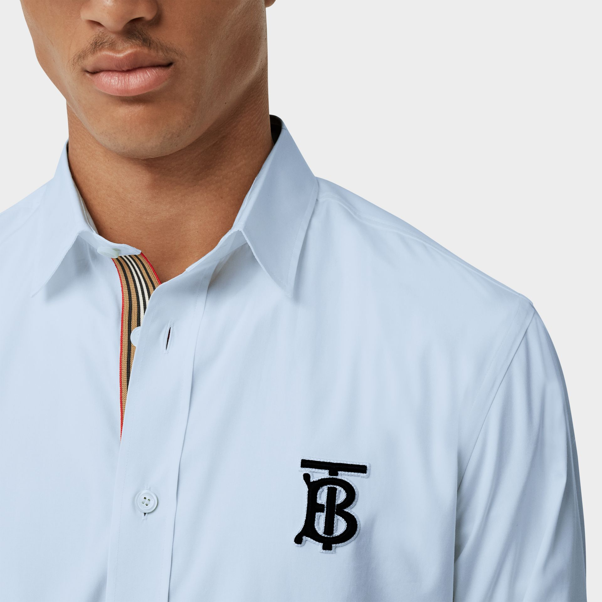 Embroidered Motifs Stretch Cotton Poplin Shirt in Pale Blue - Men | Burberry - gallery image 1