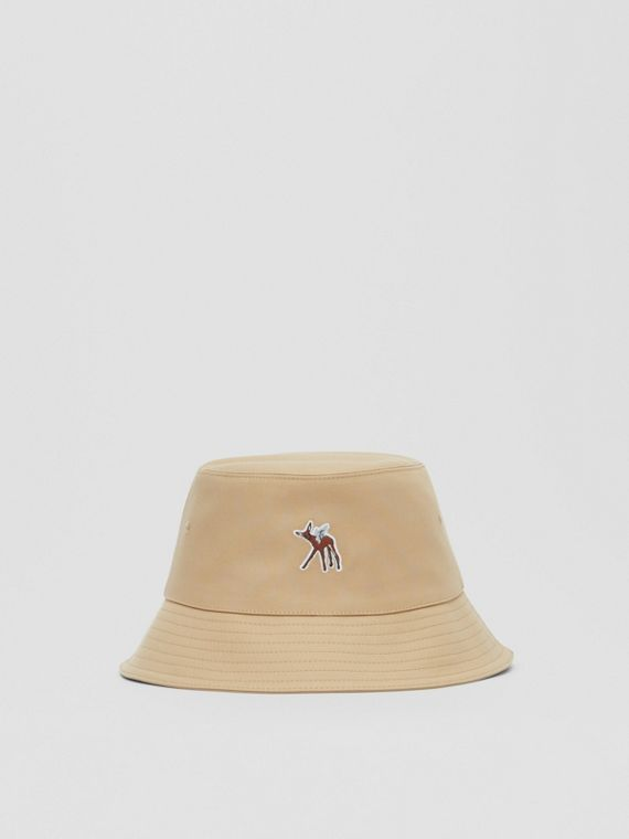 Deer Motif Cotton Bucket Hat in Honey