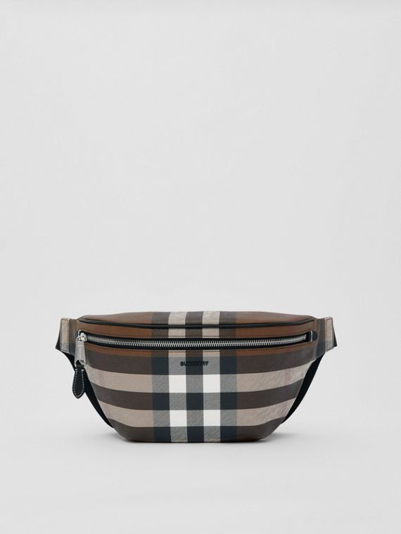 Check E-canvas Bum Bag in Dark Birch Brown