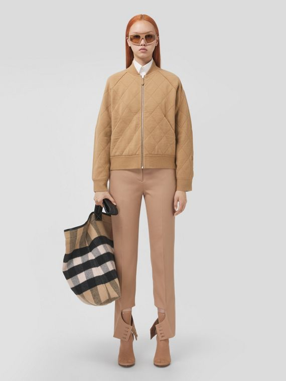 Diamond Quilted Wool Bomber Jacket in Camel