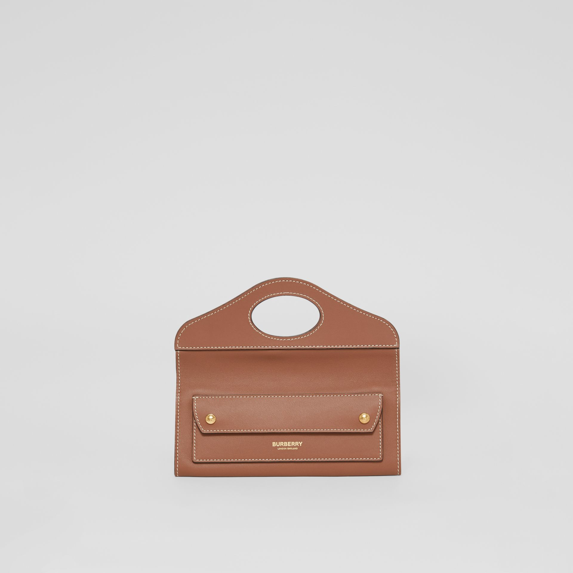 Mini Topstitched Lambskin Pocket Clutch in Malt Brown - Women | Burberry - gallery image 0