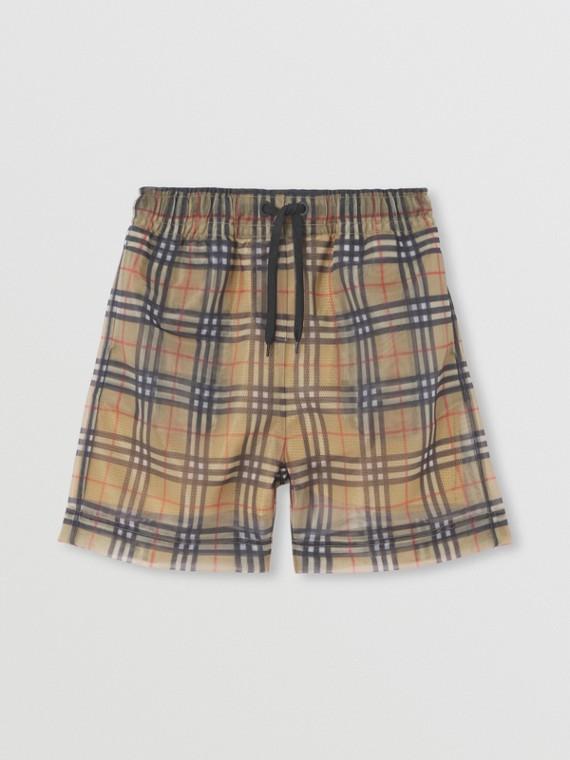 Pantaloncini in tessuto a rete con motivo Vintage check (Beige Archivio)