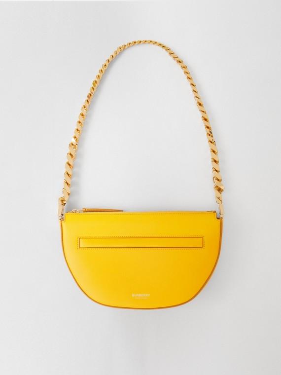 Mini Leather Zip Olympia Bag in Marigold
