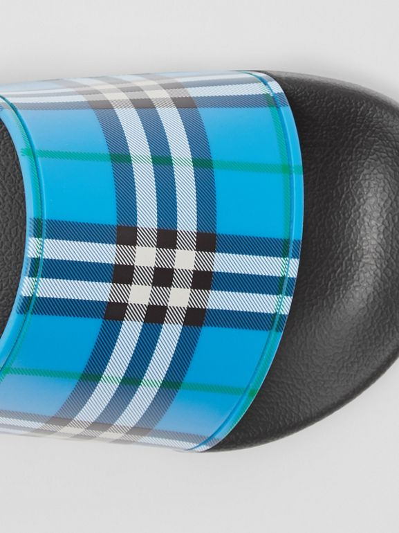 Check Print Slides in Blue Azure - Women | Burberry United Kingdom - cell image 1
