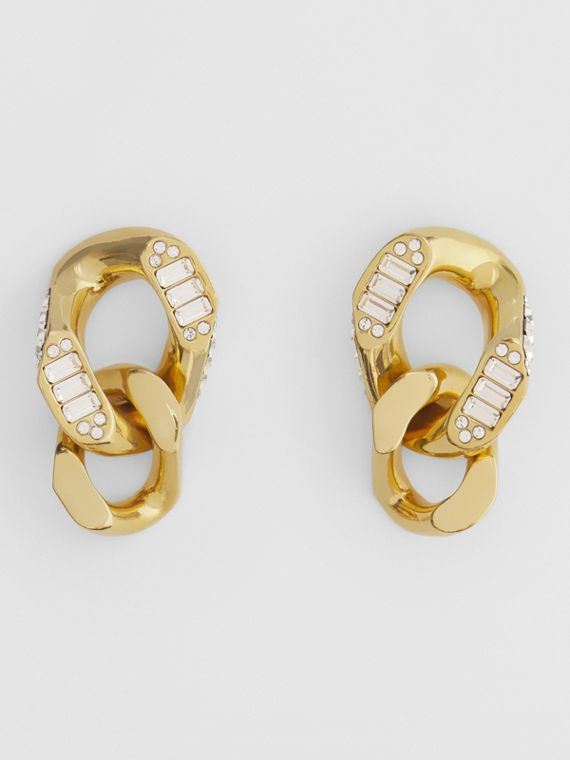 Crystal Detail Gold-plated Chain-link Earrings in Antique