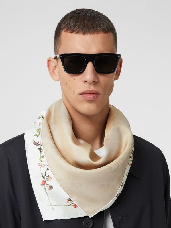 Rose Print Silk Square Scarf in White | Burberry - cell image 3